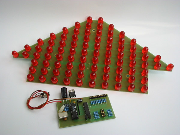 DPS osazená vývodovými LED
